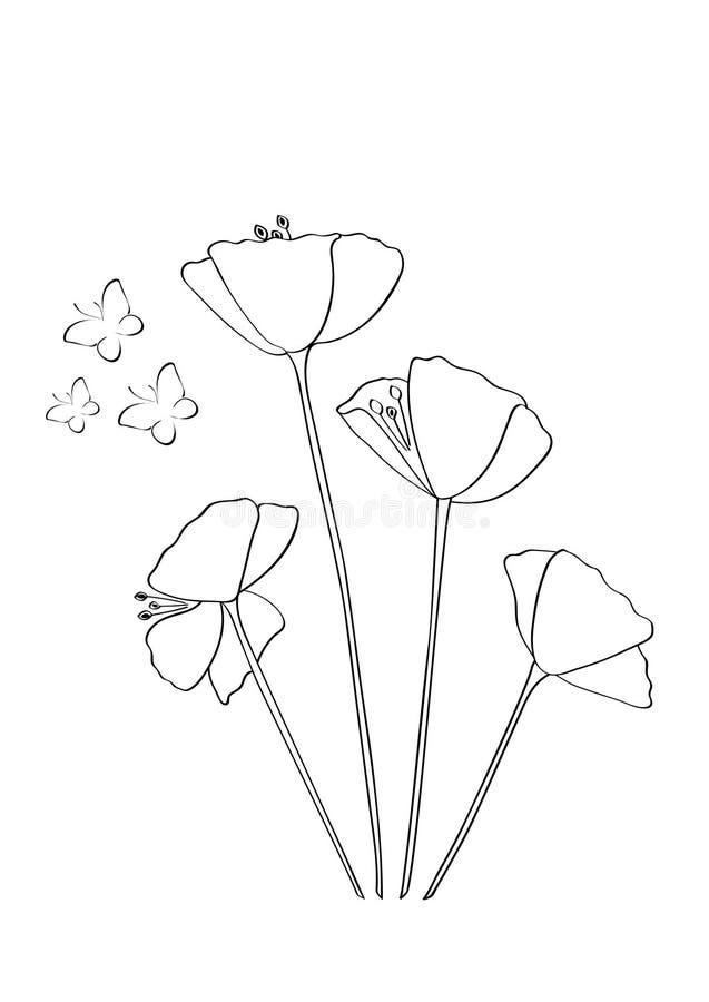 开花例证、鸦片花和蝴蝶,艺术设计,墙壁设计,墙壁标签 库存例证