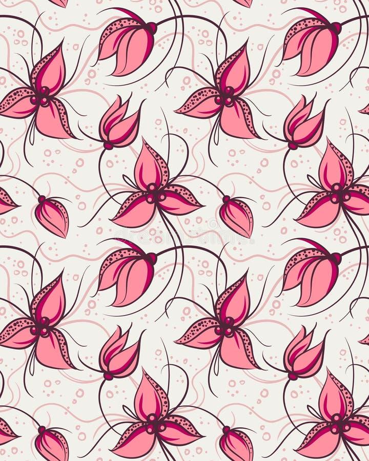 开花兰花模式红色无缝 库存照片