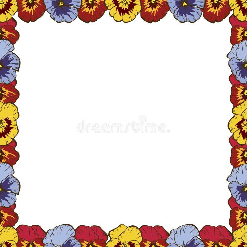 开花分数维框架例证 五颜六色的蝴蝶花美好的框架  您的设计的准备好模板,传染媒介例证 免版税库存照片