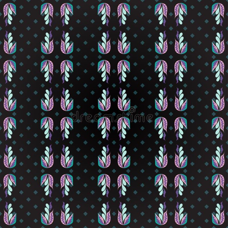 开花在一个几何背景难看的东西作用摘要色的无缝的传染媒介样式的瓣 皇族释放例证