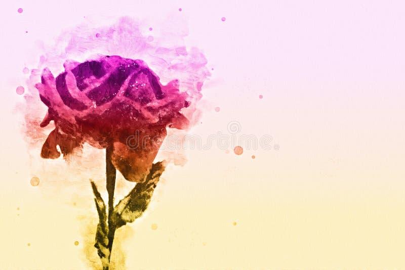 开花在五颜六色的水彩绘画背景的抽象花 向量例证