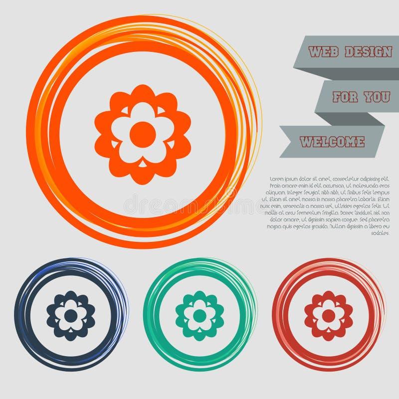 开花在红色,蓝色,绿色,橙色按钮您的网站的和设计的象与空间文本 库存例证