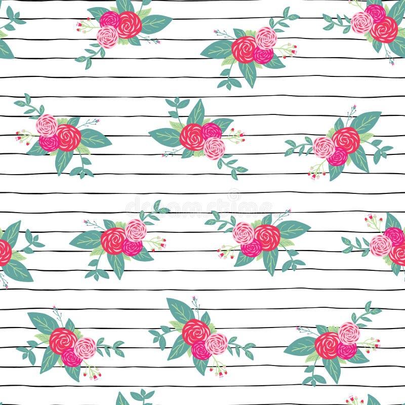 开花在黑白条纹无缝的重复传染媒介样式背景的花束 桃红色抽象玫瑰和foilage在手边 库存例证