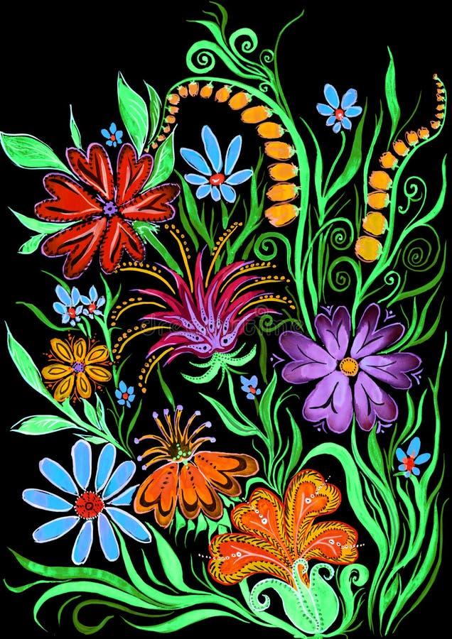 开花在黑的水彩绘画的背景在纸 库存例证