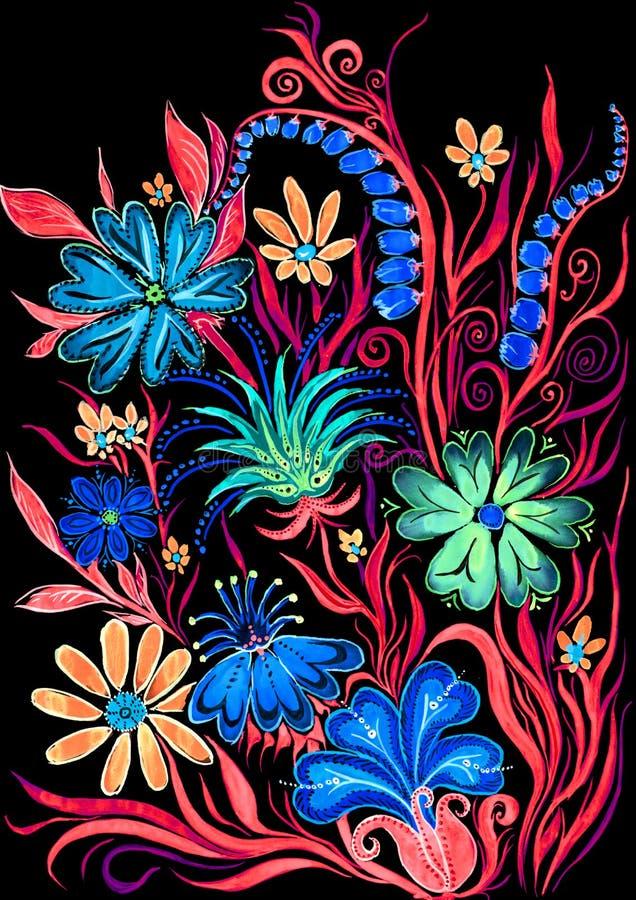 开花在黑的水彩绘画的背景在纸 皇族释放例证
