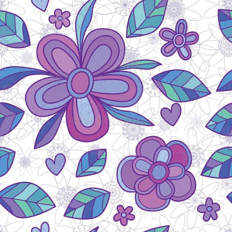 开花坛场线光芒紫色样式无缝的样式 皇族释放例证