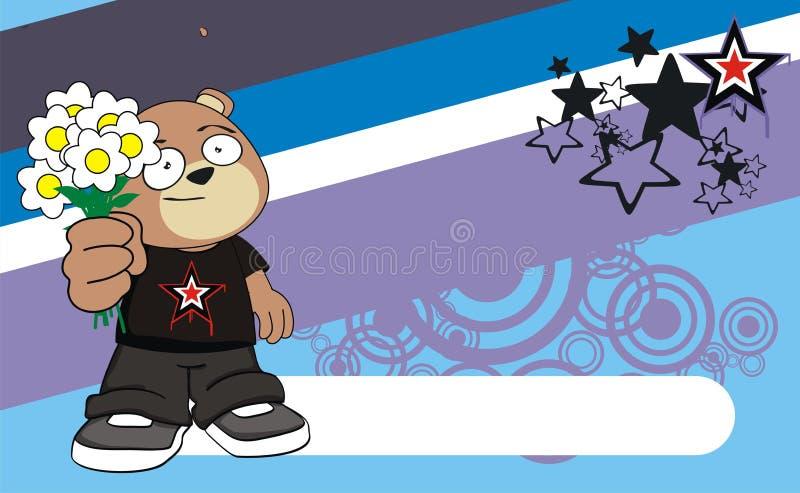 开花年轻玩具熊动画片表示背景 库存例证