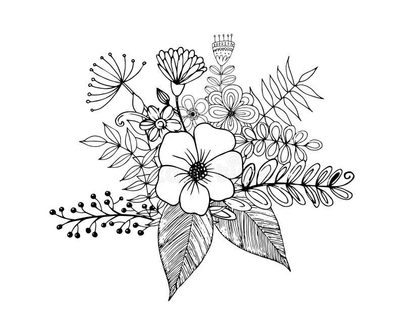 开花徒手画画的乱画,上色与乱画的页 向量例证