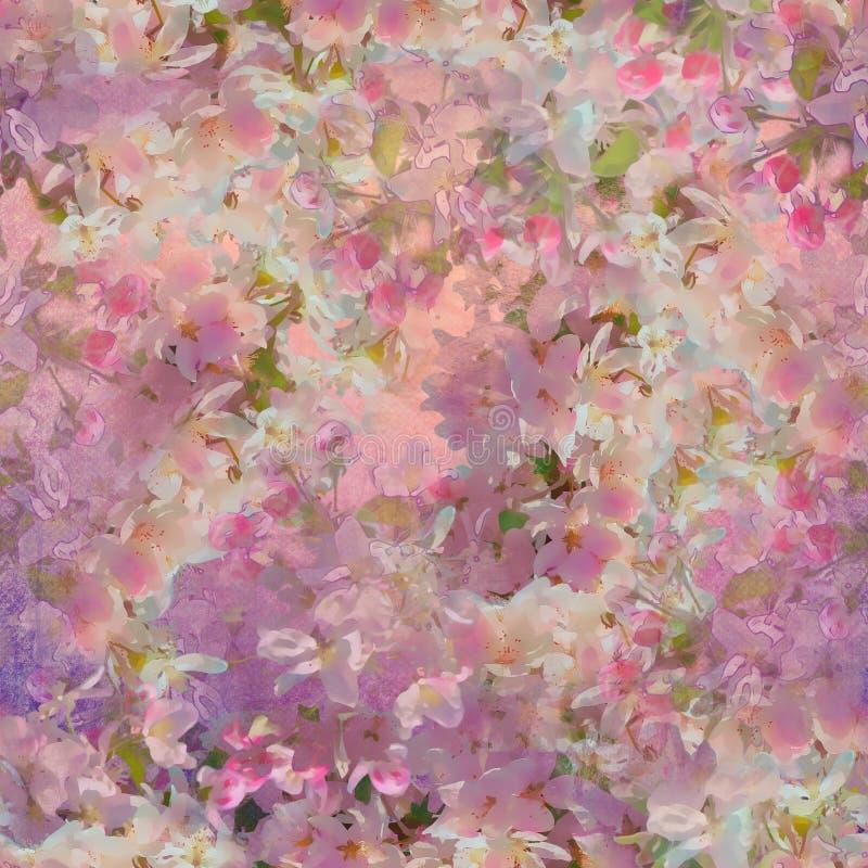 开花无缝樱桃的模式 库存例证