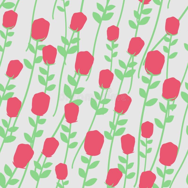 开花无缝的模式 与绿色词根的英国兰开斯特家族族徽 花卉浸泡 库存例证