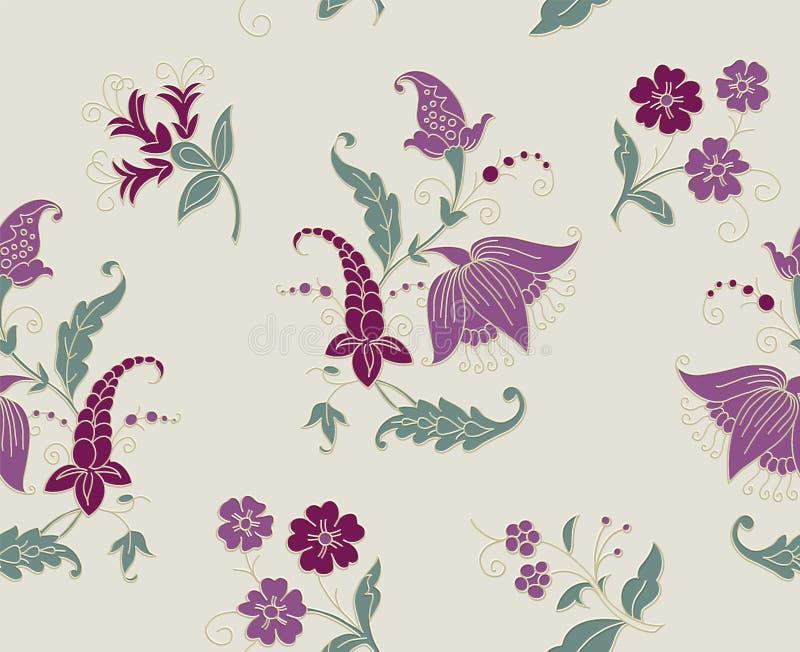 开花无缝的模式 亚麻制织品的印度全国佩兹利装饰品 包裹的,纺织品Kalamkari纹理贴墙纸 皇族释放例证