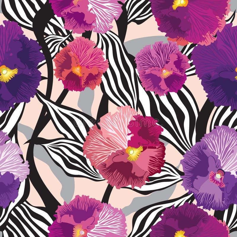 开花无缝的背景。与花的花卉无缝的纹理。向量图形。 向量例证