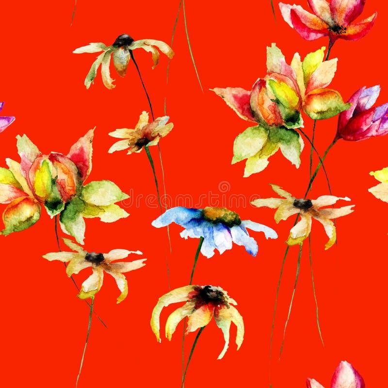 开花无缝的风格化墙纸 向量例证