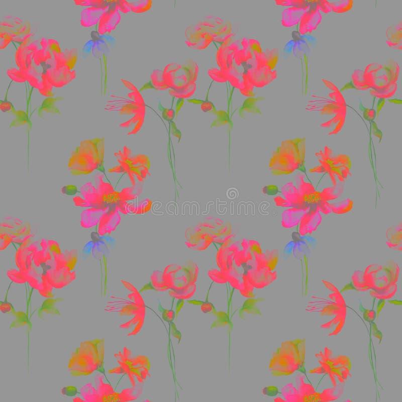 开花无缝的风格化墙纸 皇族释放例证