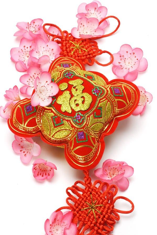 开花樱桃中国新的装饰品年 库存照片