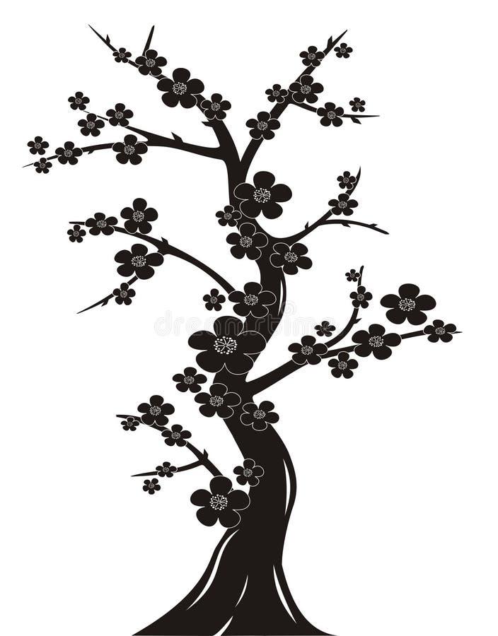 开花樱桃剪影结构树 库存例证