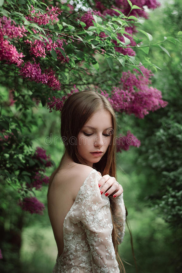 开花的丁香的美丽的女孩 库存照片