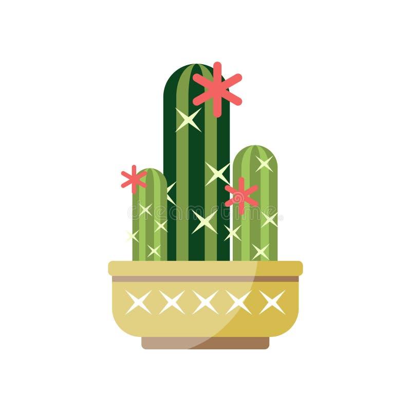 开花的仙人掌房子植物,在罐,典雅的家庭装饰传染媒介例证的室内花 库存例证