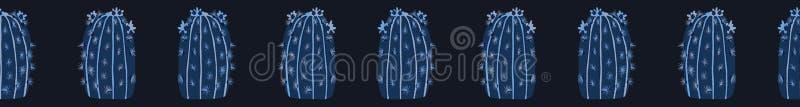 开花的仙人掌无缝的边界样式 室内多汁室内植物传染媒介例证 向量例证