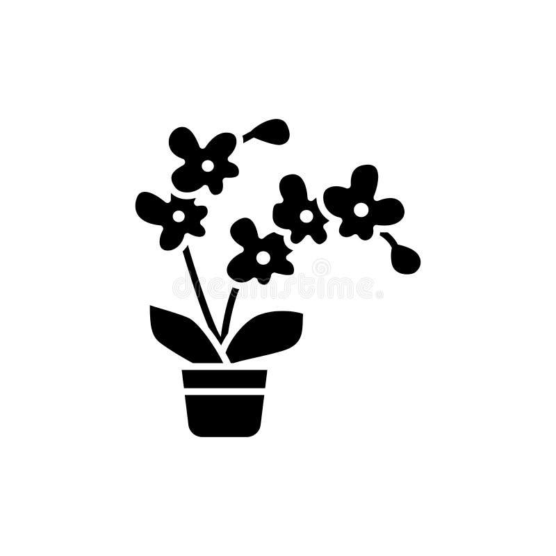 开花的兰花的黑&白色传染媒介例证与花的 皇族释放例证
