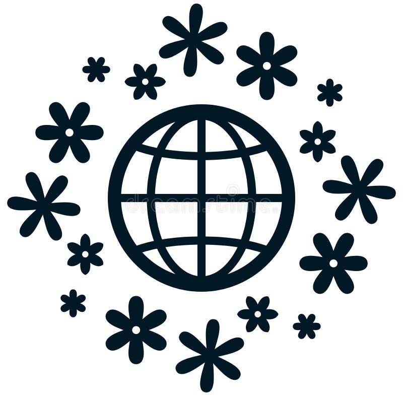 开花的地球传染媒介象 向量例证