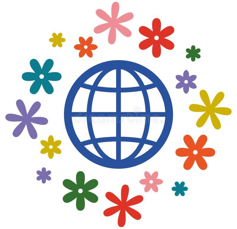 开花的地球传染媒介象 库存例证