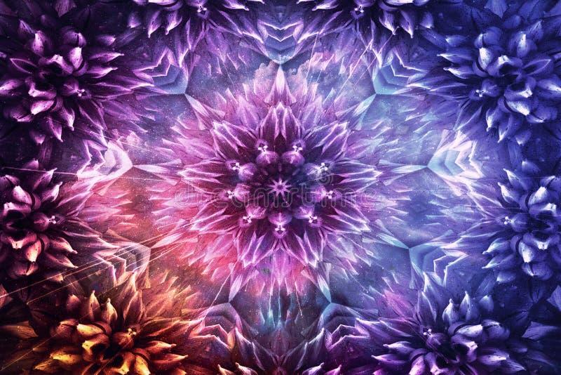 开花的摘要艺术性的数字艺术品在光滑的五颜六色的背景塑造了 库存例证