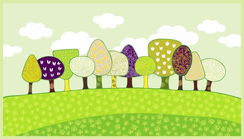 开花的春天结构树 库存例证