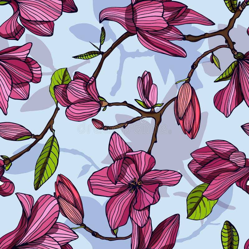 开花的木兰,桃红色颜色 与开花的花的手拉的五颜六色的无缝的样式 传染媒介墙纸 皇族释放例证