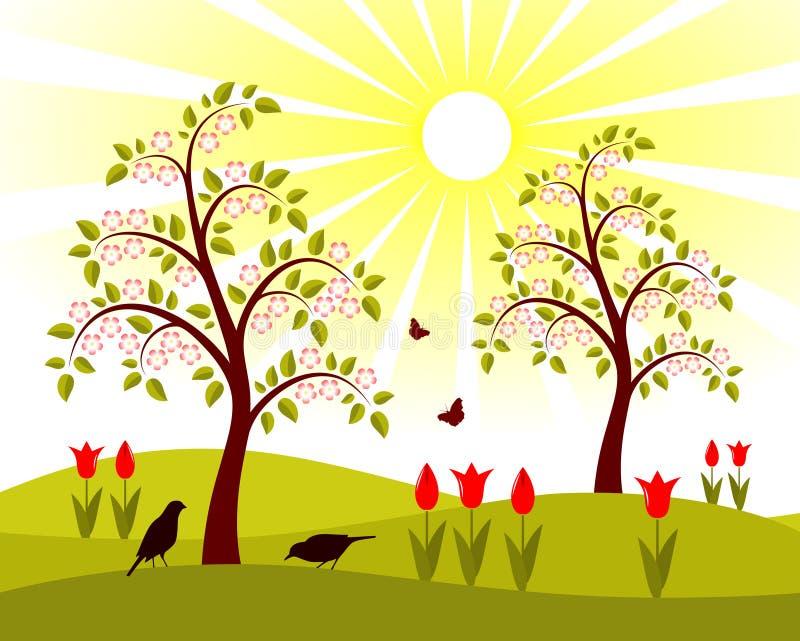 开花的果树园 向量例证