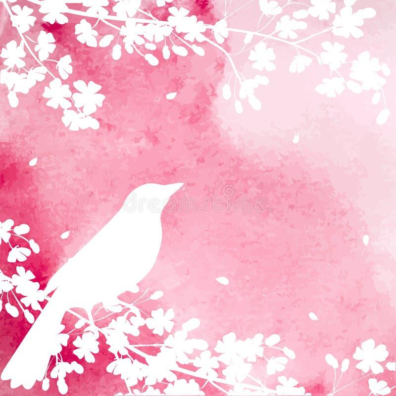 开花的树和鸟 皇族释放例证