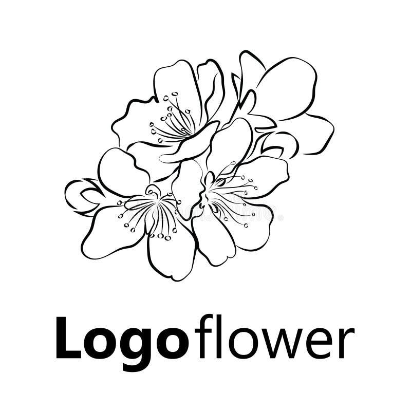 开花的樱桃 与花蕾的佐仓分支 一棵开花的树的黑白图画在春天 商标与 向量例证