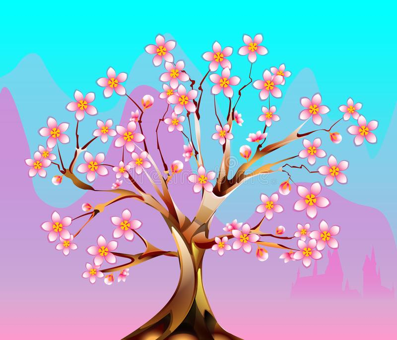 开花的美妙的树 库存例证