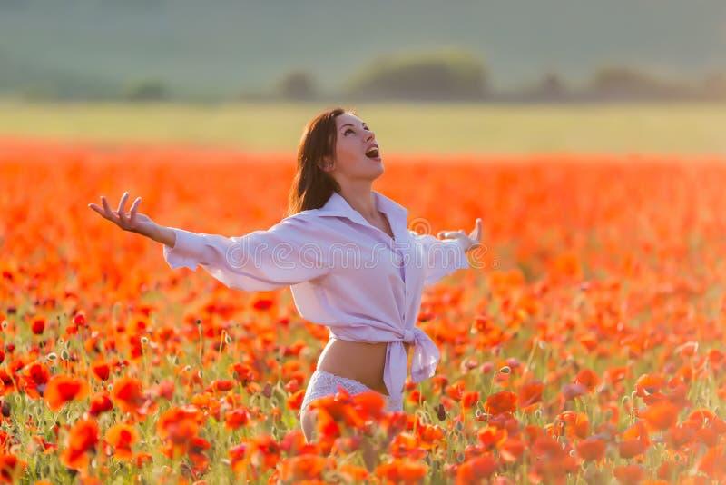 开花的鸦片领域的女孩 免版税图库摄影