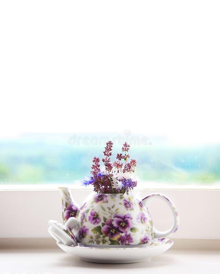 开花紫色瓶子窗口白天 库存照片