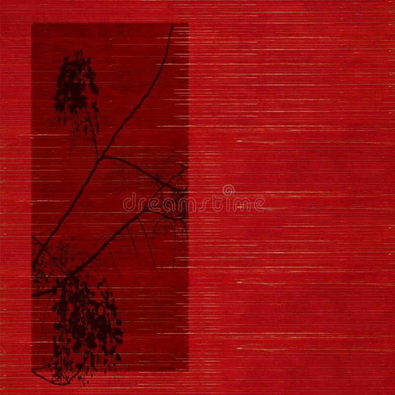 开花红色剪影板条做被弄脏木 免版税库存照片