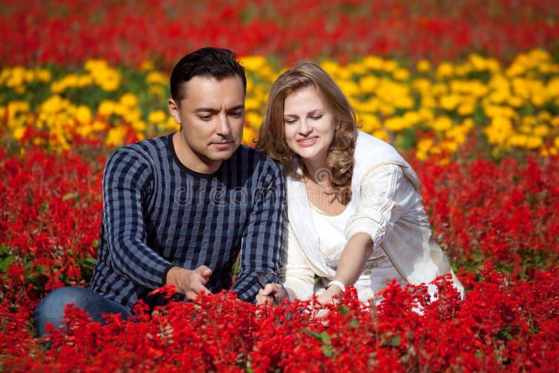 开花结婚的公园的夫妇 免版税库存照片