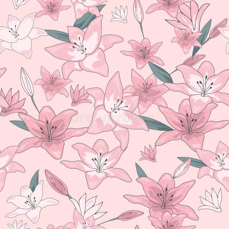 开花花卉无缝的样式 与分支和叶子的百合花驱散了任意 时髦抽象传染媒介纹理 好为 库存例证