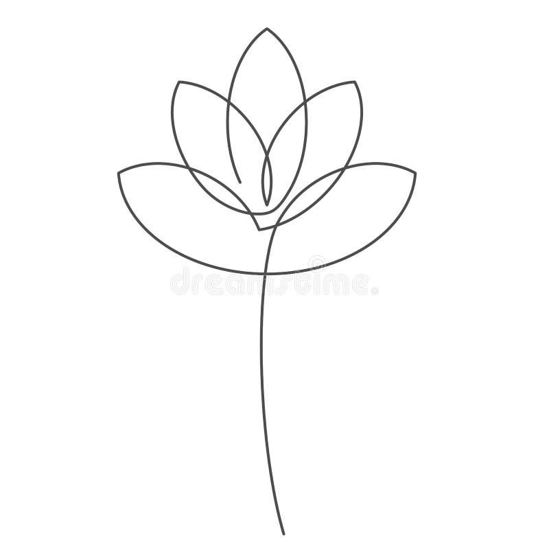 开花莲花实线与编辑可能的冲程的传染媒介例证花卉设计或商标的 皇族释放例证