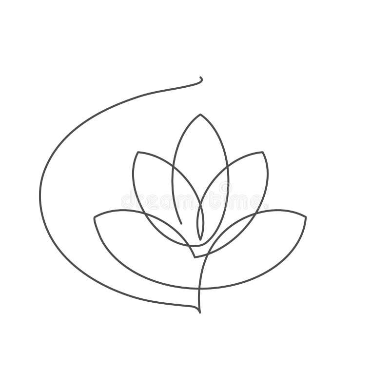 开花莲花实线与编辑可能的冲程的传染媒介例证 向量例证