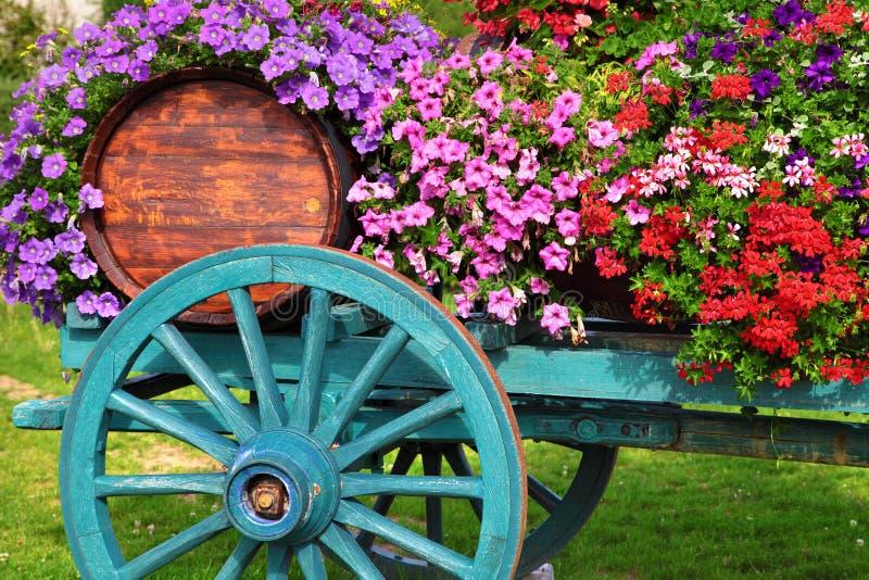 开花装饰的酒推车在法国的博若莱红葡萄酒地区 图库摄影