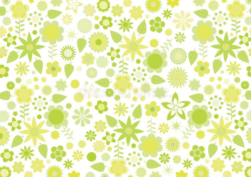 开花质朴的叶子模式减速火箭的黄色 向量例证