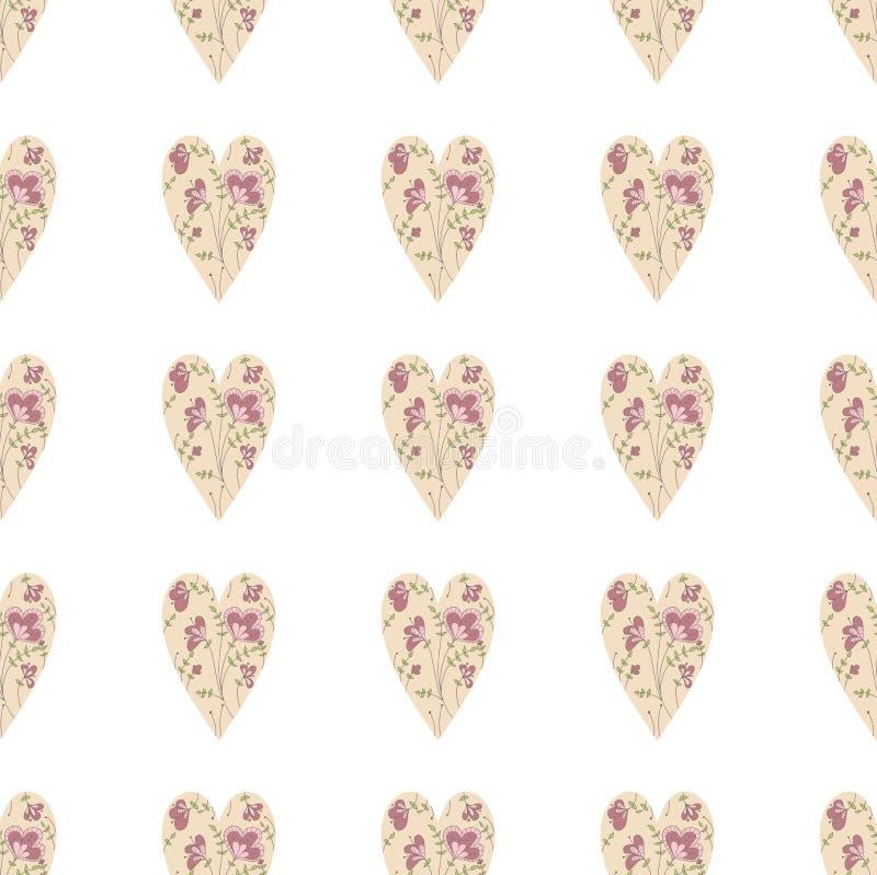 开花重点模式 逗人喜爱的swirly心脏无缝的背景 免版税库存照片