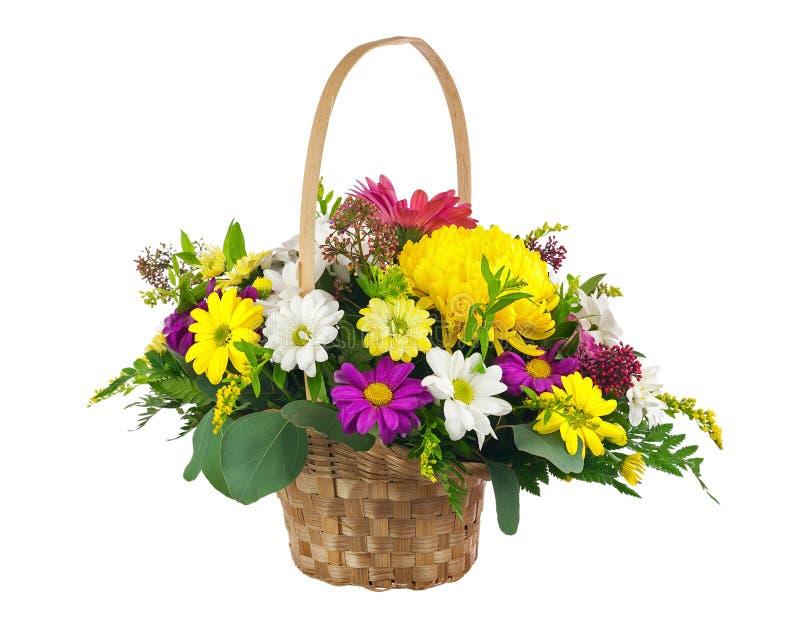 开花从多色的菊花和其他花的花束 库存照片