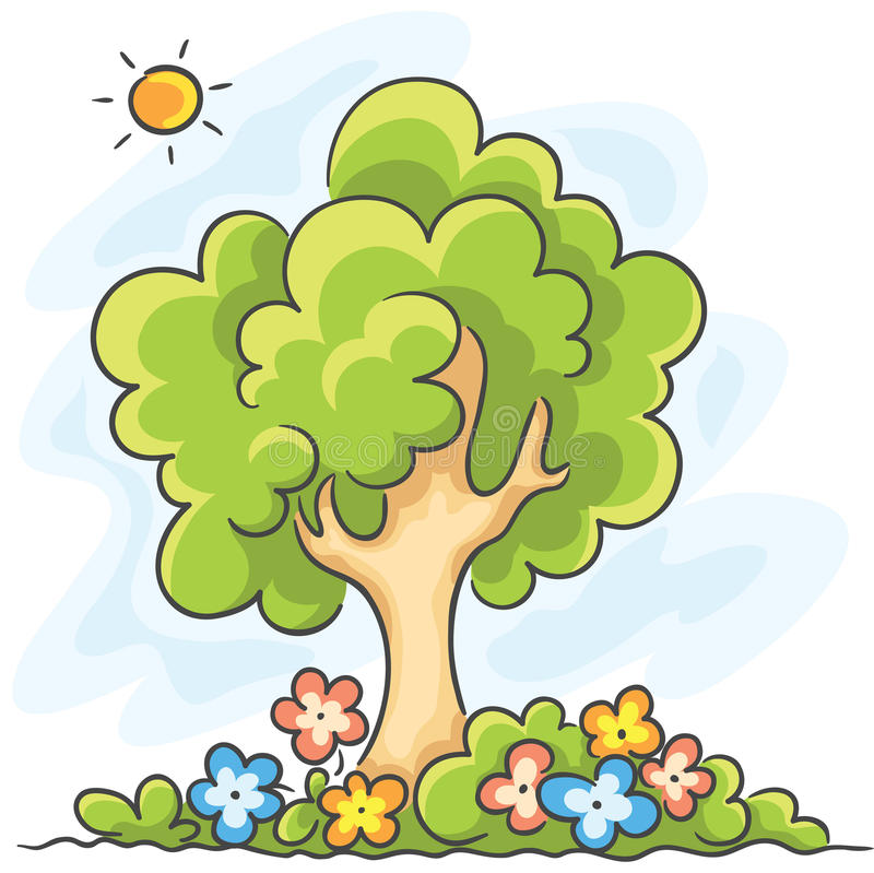 开花结构树 向量例证
