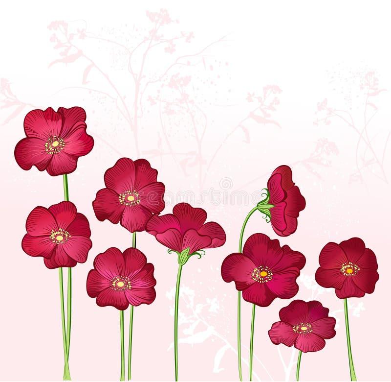 开花growings红色通配 皇族释放例证
