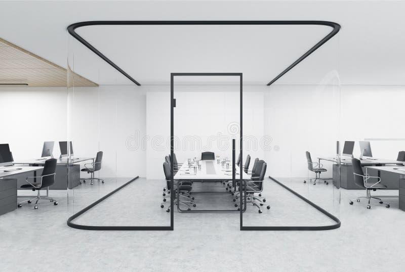 开辟有一个玻璃水族馆的办公室在中心 皇族释放例证