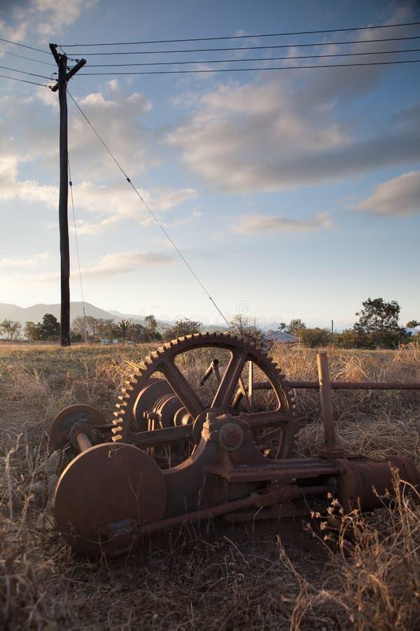 开采人工制品历史古色古香的机械 图库摄影