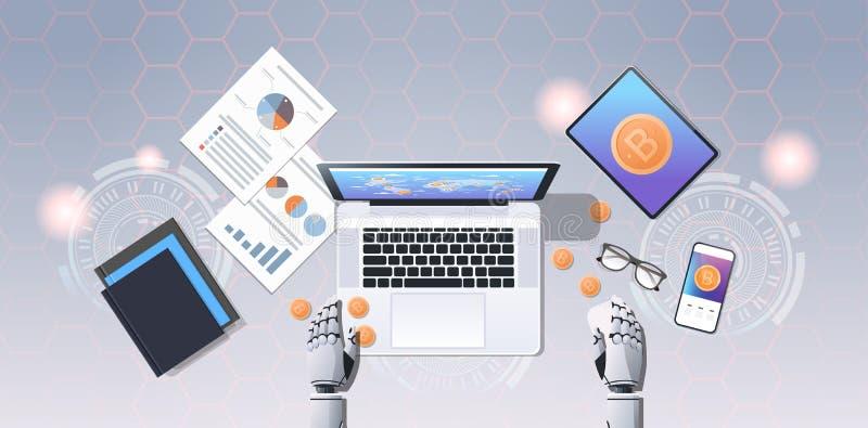 开采机器人手的隐藏货币贸易马胃蝇蛆块式链概念bitcoin使用膝上型计算机在工作场所桌面角度 库存例证