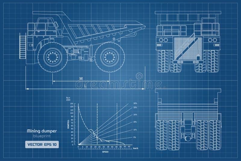 开采的倾销者图纸  旁边,后面和正面图 概述重型卡车图象 货物汽车工业图画  向量例证
